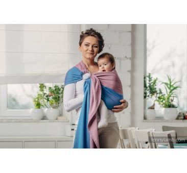 FLUORYT - Moja pierwsza chusta kółkowa do noszenia dzieci - tkana splotem skośno - krzyżowym - bawełniana - ramię bez zakładek