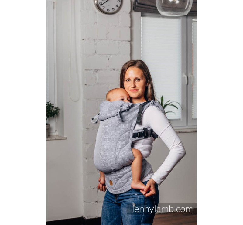 LennyGo MAŁA JODEŁKA SZARA - Moje drugie nosidełko ergonomiczne- splot jodełkowy , Toddler size - LennyLamb