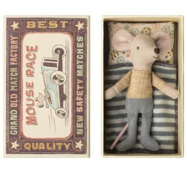 Myszka W Koszuli W Złote Wzory - Little Brother - Mouse in Box - Maileg