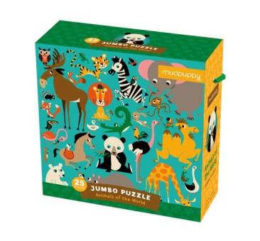 Zwierzęta Świata - Puzzle Podłogowe 2+ - Jumbo - 25 Elementów - Mudpuppy