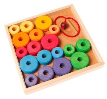 Kolorowe Dyski Do Nawlekania 1+ - Grimm's Grimms - Zabawka drewniana 19 elementów - Montessori