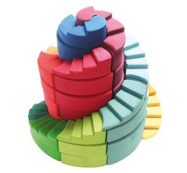 Podwójna Kolorowa Spirala 1+ - Grimm's Grimms - Zabawka drewniana 56 elementów - Montessori