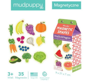 Owoce I Warzywa - Zestaw Drewnianych Magnesów - 35 Elementów - Mudpuppy