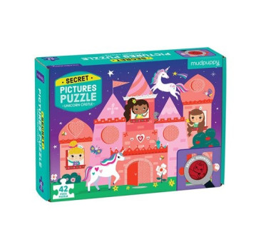 Zamek Jednorożca - Puzzle Z Ukrytymi Obrazkami - 42 Elementy - Mudpuppy