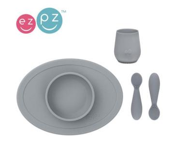Szary - Komplet Pierwszych Naczyń Silikonowych - First Food Set - EZPZ