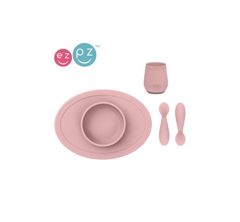 Pastelowy Różowy - Komplet Pierwszych Naczyń Silikonowych - First Food Set - EZPZ