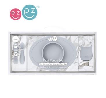 Pastelowa Szarość - Komplet Pierwszych Naczyń Silikonowych - First Food Set - EZPZ