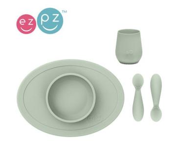 Pastelowa Zieleń - Komplet Pierwszych Naczyń Silikonowych - First Food Set - EZPZ