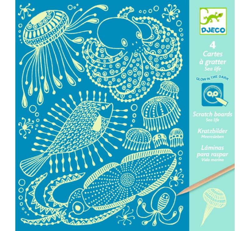 Morskie Życie - Wydrapywanka Świecąca w Ciemności - Djeco