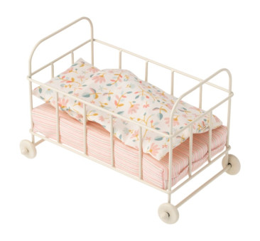 Łóżko Na Kółkach - Babycot Metal Micro - Akcesoria dla Lalek - Maileg