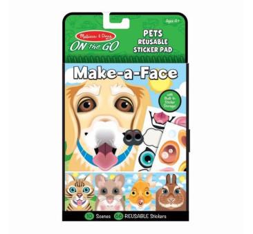 Zwierzęta - Make a Face - Naklejki Wielokrotnego Użytku - Melissa & Doug