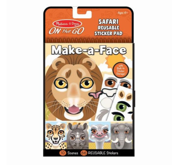Safari - Make a Face - Naklejki Wielokrotnego Użytku - Melissa & Doug