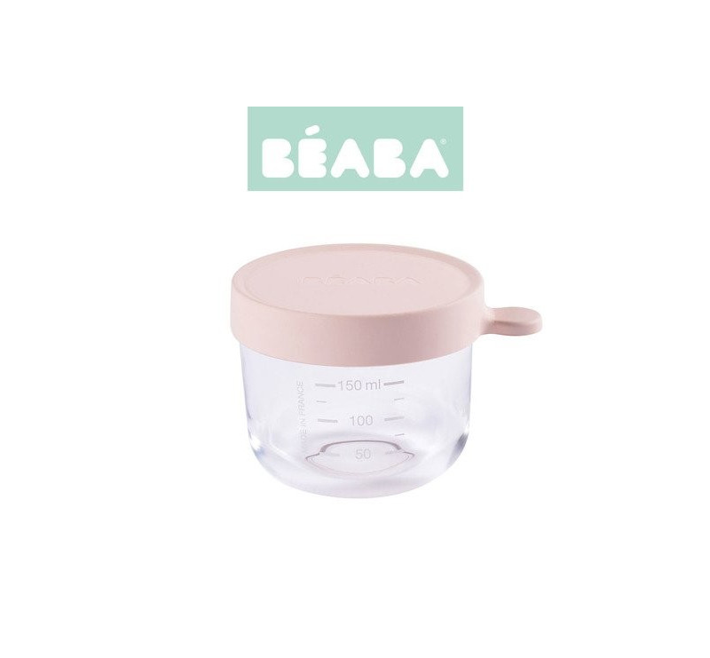 Pojemnik Szklany z Hermetycznym Zamknięciem 150 ml - Pink - Beaba
