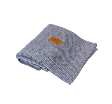 Kocyk tkany z bawełny organicznej - ciemny szary - Poofi
