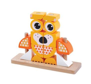 Drewniana Układanka Na Palikach Piesek - Pomarańczowa - Adam Toys