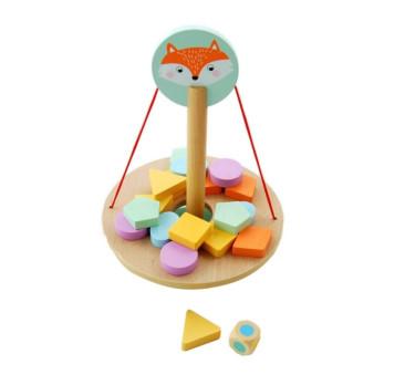 Balansująca Gra Z Liskiem - Drewniana Kostka - Kolorowe Figury Geometryczne - Adam Toys