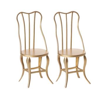 Dwa Złote Krzesła - Gold Vintage Chair Micro - Rozmiar Micro - Maileg