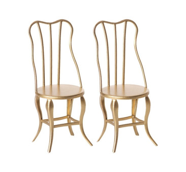 Dwa Złote Krzesła - Vintage chair Micro - Gold - Maileg