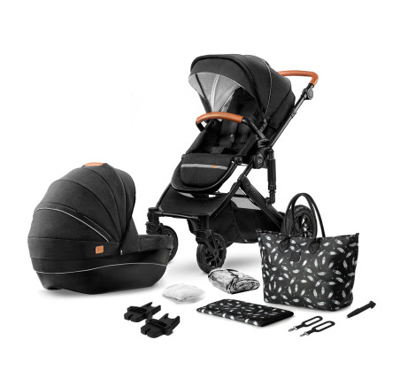 Black - Wózek Głęboko Spacerowy - PRIME 2W1 + Mommy Bag - Kinderkraft