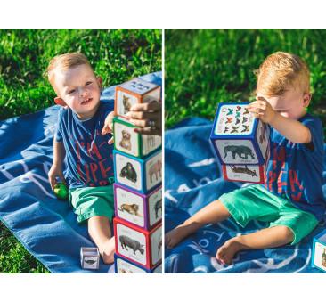 Piramida zabaw - zwierzęta/animals - kartonowe klocki do nauki przez zabawę
