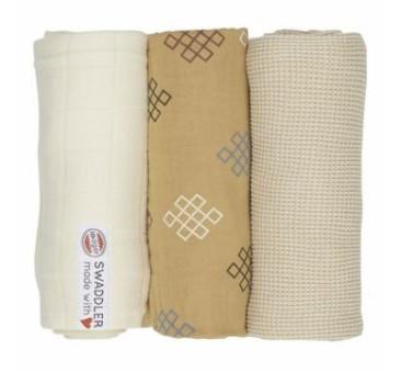 Honey/Knot/Ivory - 70x70 cm - Otulacze Pieluszki 3-pack - Swaddler Epire - Muślin - Lodger