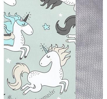 Unicorn Rainbow Knight & Velvet Dark Grey- By Maja Bohosiewcz - Wkładka do wózka - Stroller Pad - La Millou - Organic Jersey Col