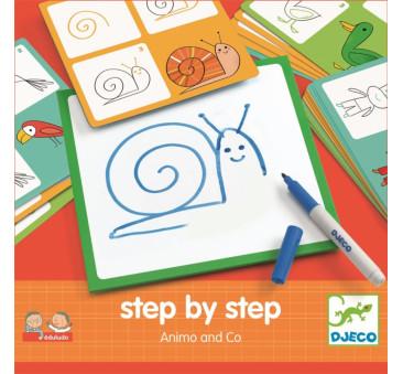 Eduludo - Zwierzątka - Karty Do Nauki Rysowania - Krok Po Kroku - Djeco