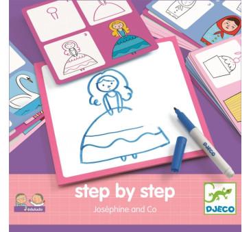Eduludo - Josephine - Dziewczęce Karty Do Nauki Rysowania - Krok Po Kroku - Djeco