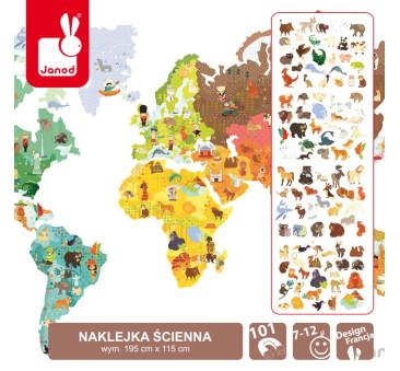 Naklejka ścienna XXL Mapa Świata ze 101 magnesami Świat Magneti'Stick - Janod