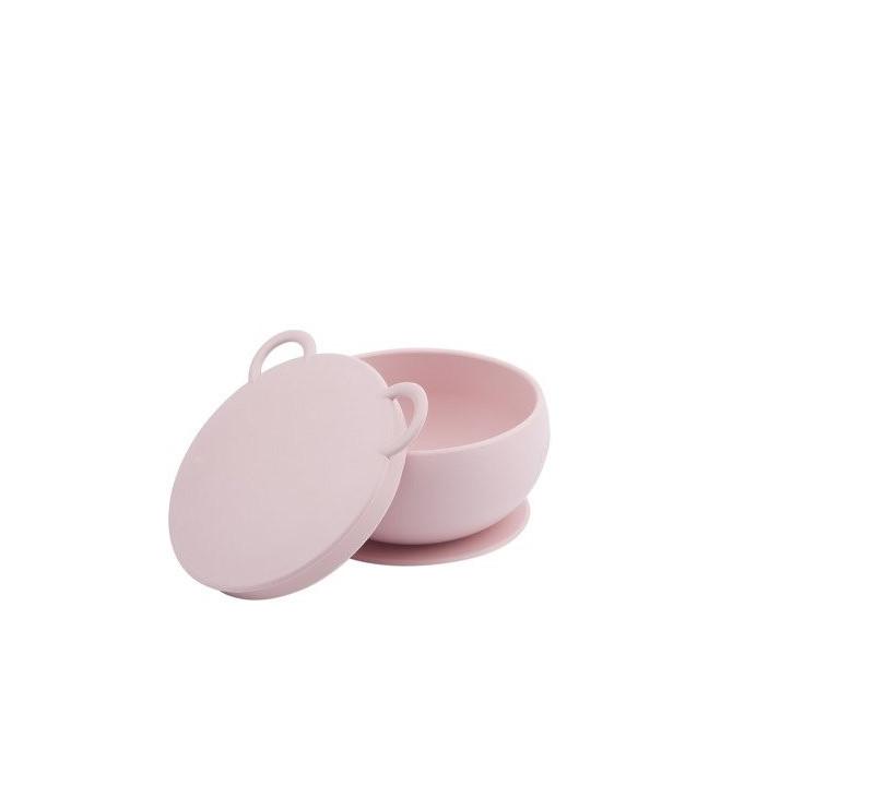 Różowa - Miseczka Silikonowa Z Pokrywką - Pink - MinikOiOi
