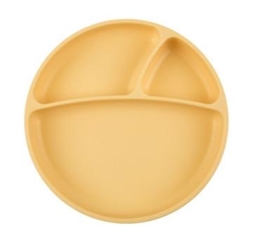 Żółty - Talerzyk Silikonowy Z Przegródkami - Yellow - MinikOiOi