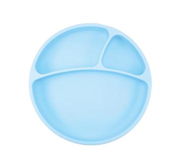 Niebieski - Talerzyk Silikonowy Z Przegródkami - Blue - MinikOiOi