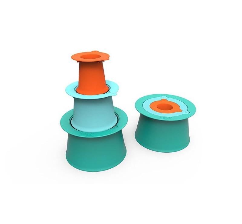 Foremki Alto do budowy zamków - Laggon Green + Vintage Blue + Mighty Orange - Quut