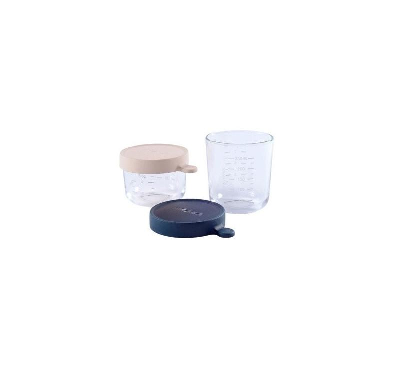 Pink & Dark Blue - Zestaw Pojemników Szklanych z Hermetycznym Zamknięciem 150 + 250 ml - Beaba