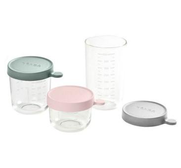 Pink & Eucalyptus Green & Light Mist - Zestaw Pojemników Szklanych z Hermetycznym Zamknięciem 150 + 250 ml + 400 ml - Beaba