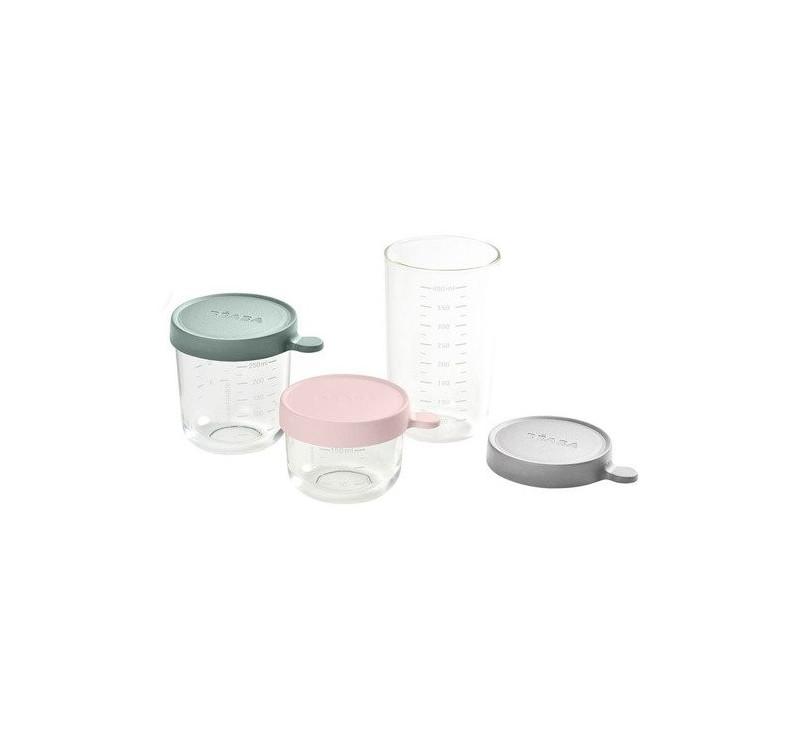 Pink& Eucalyptus Green & Light Mist - Zestaw Pojemników Szklanych z Hermetycznym Zamknięciem 150 + 250 ml + 400 ml - Beaba