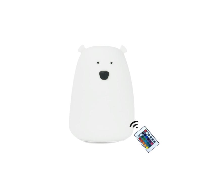 Biały Miś - Duża Lampka Silikonowa - Z Pilotem - Rabbit & Friends