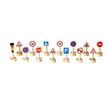 Drewniane znaki drogowe i światła - Plan Toys