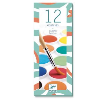 Farby Klasyczne Gwaszowe - 12 Kolorów - Djeco