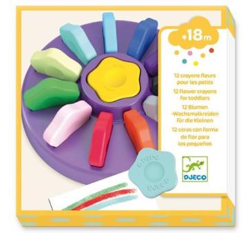 Kwiatowe Kredki Dla Maluchów 12 Kolorów - Djeco