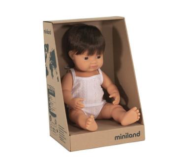 Europejczyk Brązowe Włosy 38 cm - Lalka Chłopiec Europejczyk Brązowe Włosy - Miniland Doll - Miniland