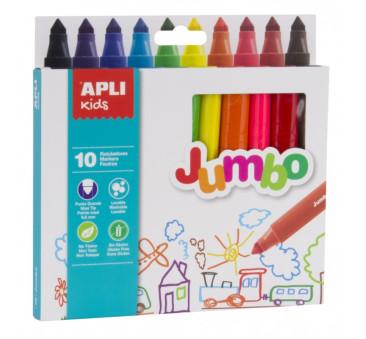 10 Kolorów Flamastry Jumbo - Apli Kids