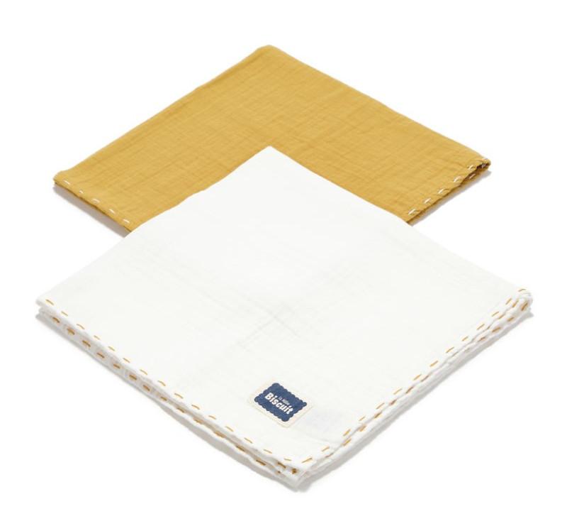 Honey & Off White - Pieluszka 100 % Cotton Muślin - 2 pack - Biscuit Collection - La Millou