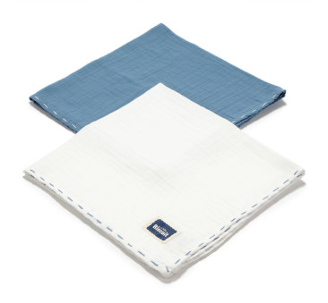 Navy & Off White - Pieluszka 100 % Cotton Muślin - 2 pack - Biscuit Collection - La Millou