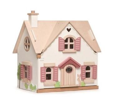 Dwupiętrowy Drewniany Domek Dla Lalek z Wyposażeniem - Tender Leaf Toys