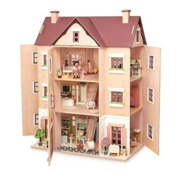 Czteropiętrowy Drewniany Domek Dla Lalek z Wyposażeniem - Tender Leaf Toys