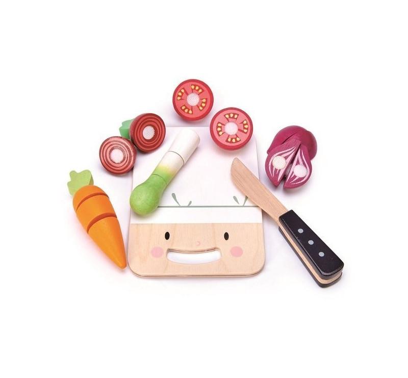 Drewniana Deska z Warzywami Do Krojenia - Mini Chef - Tender Leaf Toys