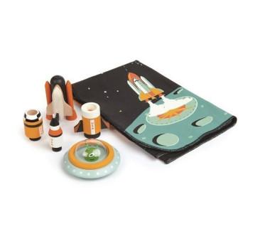 Mata z Kosmicznymi Drewnianymi Elementami - Przygoda w Kosmosie - Tender Leaf Toys