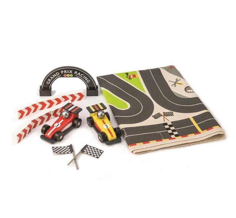 Mata Tor Frmuła 1 z Drewnianymi Samochodami - Tender Leaf Toys