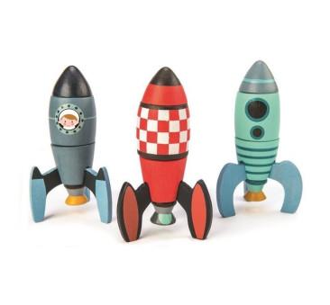 Drewniane Rakiety Kosmiczne - Zabawka konstrukcyjna - Tender Leaf Toys